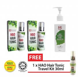 HAO Hair Revitalisation Set - HAO Hair Tonic 100 ml Twin Pack (Halal) & HAO Herbal Hair Shampoo 300ml with ˝Nikkol App-Clev˝
