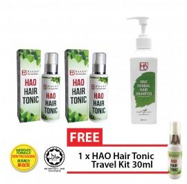 HAO Hair Revitalisation Set - HAO Hair Tonic 100 ml Twin Pack (Halal) & HAO Herbal Hair Shampoo 300ml with ˝Nikkol App-Clev˝