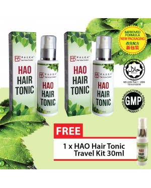 HAO Hair Tonic 100 ml Twin Pack (Halal) FREE HAO Hair Tonic 30 ml Starter Set