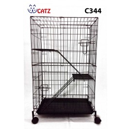 WCatz C344 2-Level 2-Tier Cat Cage Collapsible With Wheels