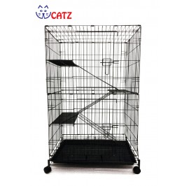 WCatz 2-Level 3-Tier Cat Cage CT48 / C357 Collapsible With Wheels