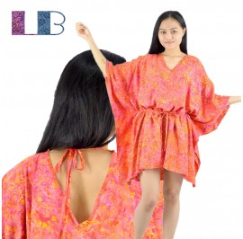 Lifestyle Batik Multi Color Floral Motif Batik Tunic Poncho Caftan Blouse Top