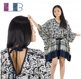 Lifestyle Batik Black Floral Motif Batik Tunic Poncho Caftan Blouse Top