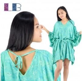 Lifestyle Batik Turquoise Floral Motif Batik Tunic Poncho Caftan Blouse Top