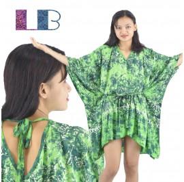 Lifestyle Batik Green Floral Motif Batik Tunic Poncho Caftan Blouse Top