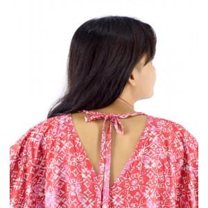 Lifestyle Batik Red Abstract Floral Motif Batik Tunic Poncho Caftan Blouse Top