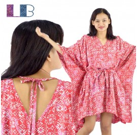 Lifestyle Batik Red Abstract Floral Motif Batik Tunic Poncho Caftan Blouse Top