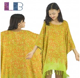Lifestyle Batik Green Abstract Motif Batik PLUS SIZE Caftan Blouse Top