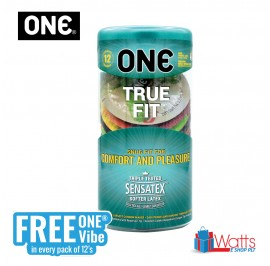 One Condom True Fit 12's with FREE One Vibe Mini Personal Massager