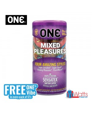 One Condom Mixed Pleasures 12's with FREE One Vibe Mini Personal Massager
